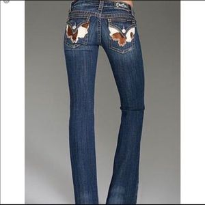 Miss Me Cowhide Flap Pocket Bootcut Jeans size 33